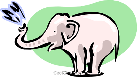 elephant squirting Royalty Free Vector Clip Art illustration anim1634