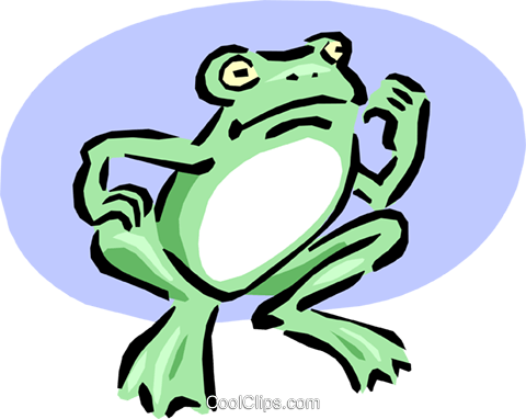 frog beckoning Royalty Free Vector Clip Art illustration anim1641