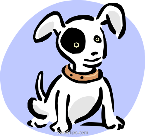puppy with black eye Royalty Free Vector Clip Art illustration anim1645