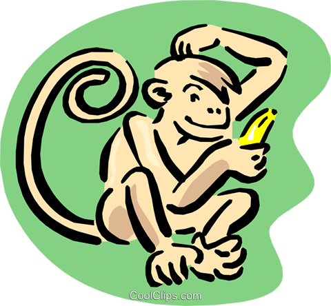 monkey and banana Royalty Free Vector Clip Art illustration anim1646