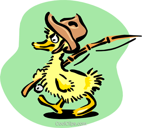 baby duck going fishing Royalty Free Vector Clip Art illustration anim1653
