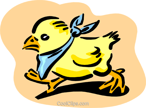 chick in bib Royalty Free Vector Clip Art illustration anim1654