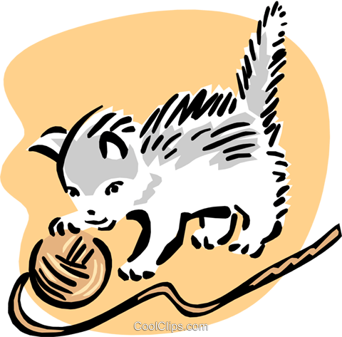 kitten and yarn Royalty Free Vector Clip Art illustration anim1656