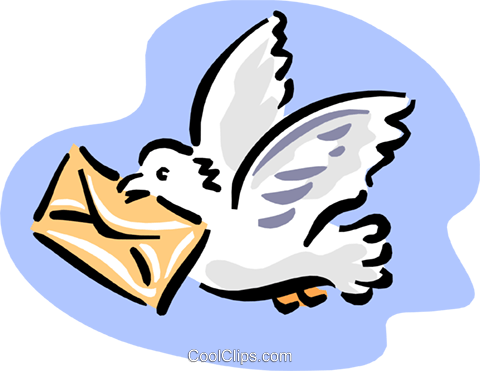pigeon with letter Royalty Free Vector Clip Art illustration anim1666
