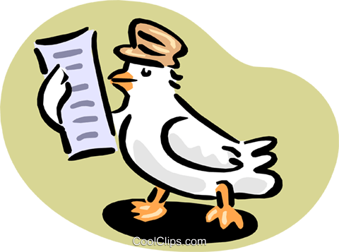 pigeon reading message Royalty Free Vector Clip Art illustration anim1667
