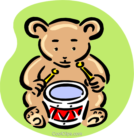 teddy playing drum Royalty Free Vector Clip Art illustration anim1668