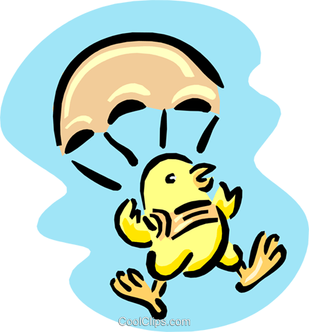 parachuting chick Royalty Free Vector Clip Art illustration anim1669