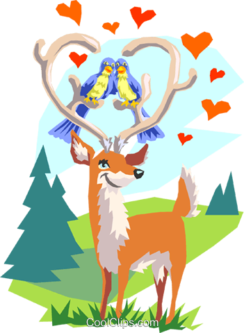 lovebirds and deer Royalty Free Vector Clip Art illustration anim1671