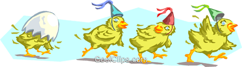 birthday chicks Royalty Free Vector Clip Art illustration anim1672