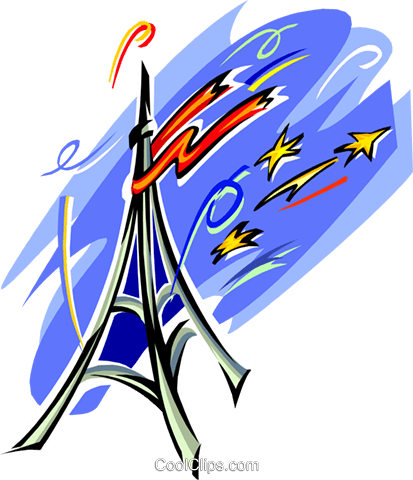 Eiffel tower and fire works Royalty Free Vector Clip Art illustration arch0442