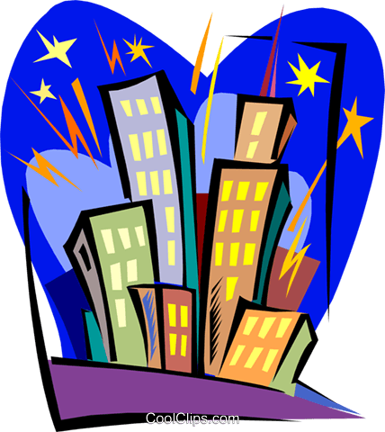 buildings in fireworks Royalty Free Vector Clip Art illustration arch0446