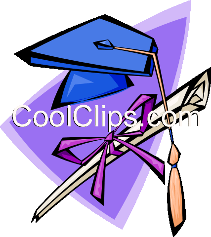 mortar board and degree Royalty Free Vector Clip Art illustration educ0006