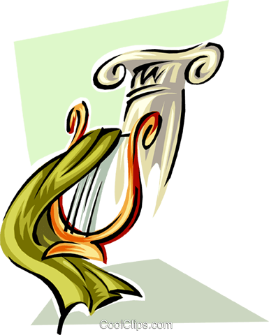 harp by column Royalty Free Vector Clip Art illustration ente0024