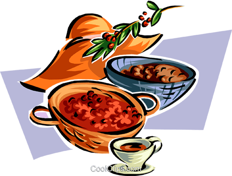 harvested bowls of food Royalty Free Vector Clip Art illustration food0887