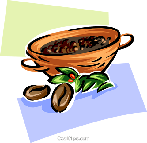 coffee beans in a bowl Royalty Free Vector Clip Art illustration food0888
