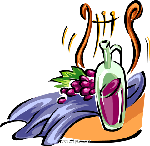 grapes, wine and harp Royalty Free Vector Clip Art illustration food0889