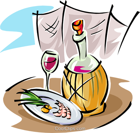 wine and food Royalty Free Vector Clip Art illustration food0891