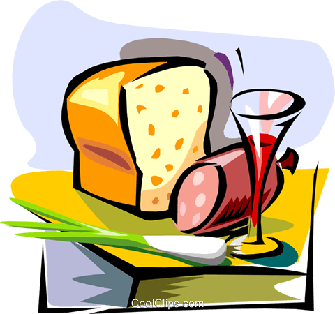 wine, bread, meat Royalty Free Vector Clip Art illustration food0892