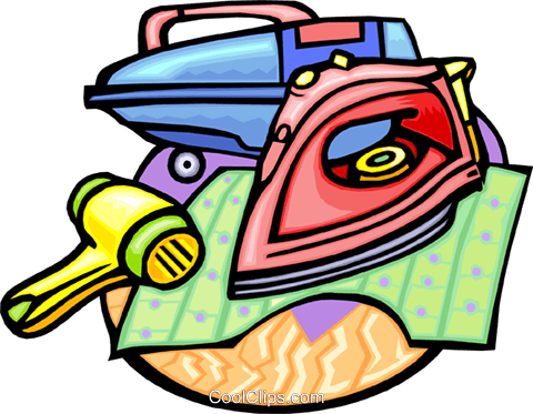 iron and household tools Royalty Free Vector Clip Art illustration hous1217