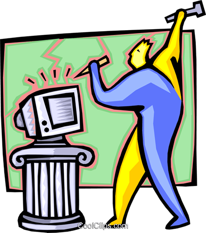 computer sculptor - cartoon Royalty Free Vector Clip Art illustration peop2559