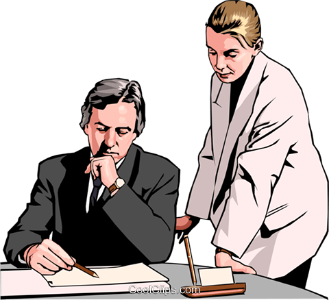 business-woman and man at desk Royalty Free Vector Clip Art illustration peop2565
