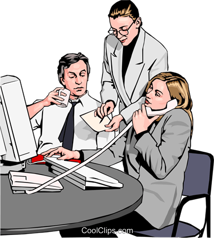 business team at phone and computer Royalty Free Vector Clip Art illustration peop2566