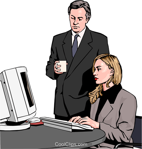 Business woman and man at computer Royalty Free Vector Clip Art illustration peop2567