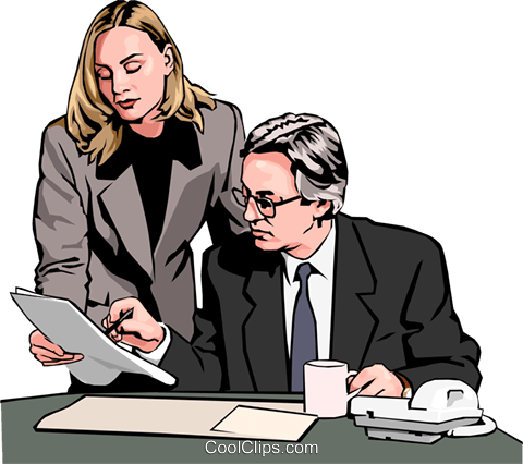 Businessman and woman reading document Royalty Free Vector Clip Art illustration peop2568