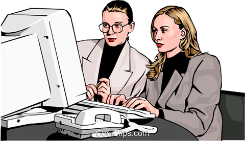 businesswomen at computer Royalty Free Vector Clip Art illustration peop2569