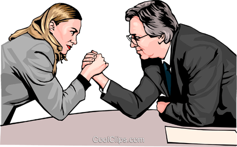 Business woman and man arm wrestle Royalty Free Vector Clip Art illustration peop2572