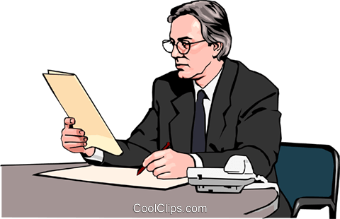 businessman reviewing document Royalty Free Vector Clip Art illustration peop2573