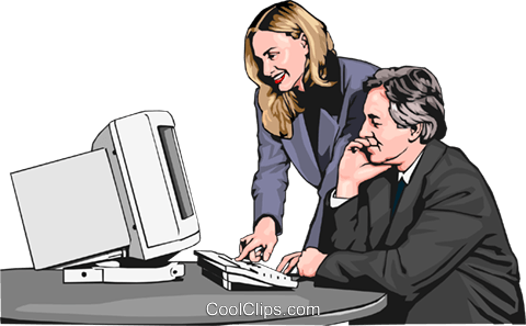 businessman and woman at computer - two Royalty Free Vector Clip Art illustration peop2574