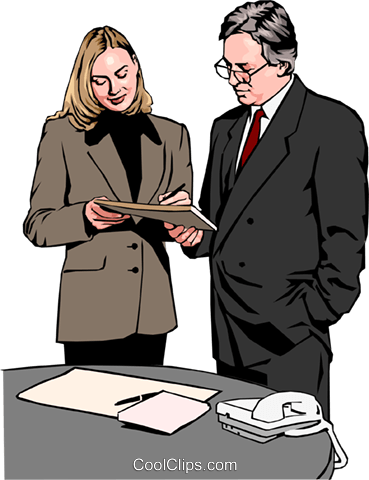 woman and man standing at desk Royalty Free Vector Clip Art illustration peop2575