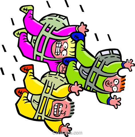 Three skydivers - cartoon Royalty Free Vector Clip Art illustration peop2577