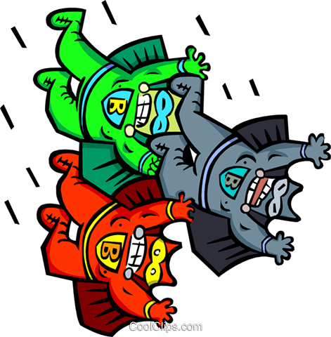 three superheroes - cartoon Royalty Free Vector Clip Art illustration peop2578