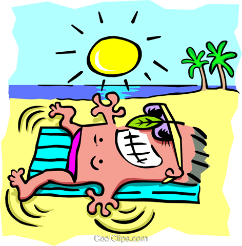 Sun tanning - cartoon Royalty Free Vector Clip Art illustration peop2580