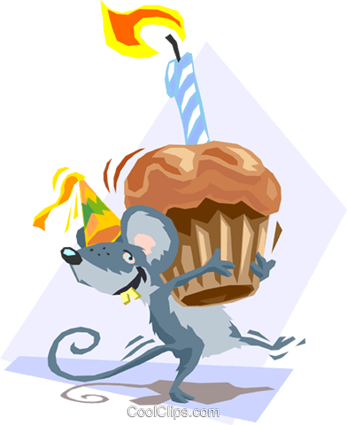 Birthday mouse Royalty Free Vector Clip Art illustration spec0083