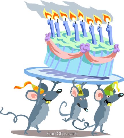 Birthday mice Royalty Free Vector Clip Art illustration spec0084