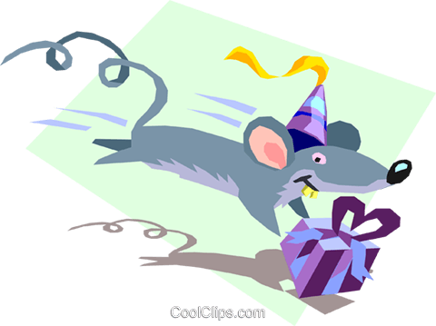 birthday mouse with gift Royalty Free Vector Clip Art illustration spec0086