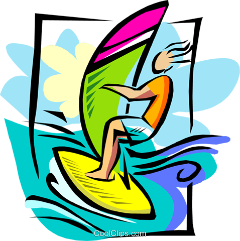 windsurfer Royalty Free Vector Clip Art illustration spor0281