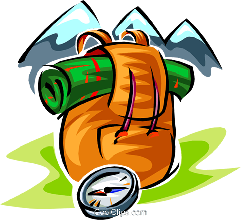 backpacking symbols two Royalty Free Vector Clip Art illustration trav0036