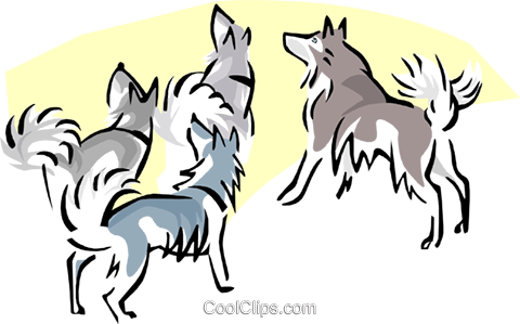 dogs howling at moon Royalty Free Vector Clip Art illustration anim1677