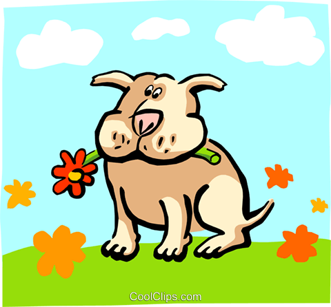 dog chewing on flower/summer Royalty Free Vector Clip Art illustration anim1703
