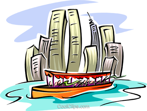 city boat cruise Royalty Free Vector Clip Art illustration arch0450