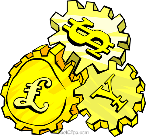 international money gears Royalty Free Vector Clip Art illustration busi1454
