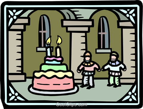 the king's men and the birthday cake Royalty Free Vector Clip Art illustration peop2593
