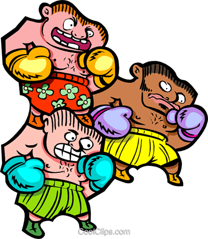 three boxers - cartoon Royalty Free Vector Clip Art illustration peop2595