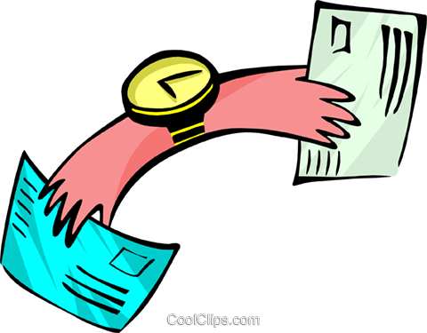 hands of time with mail - cartoon Royalty Free Vector Clip Art illustration peop2603