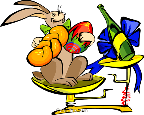 Easter rabbit on scales Royalty Free Vector Clip Art illustration spec0092