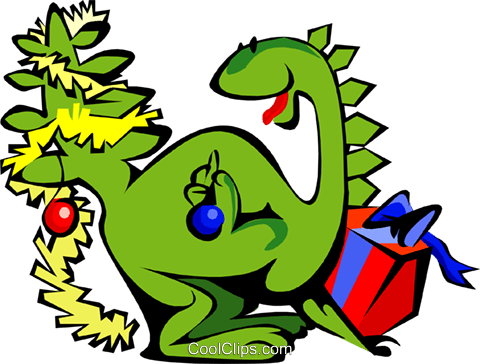 Christmas dinosaur Royalty Free Vector Clip Art illustration spec0094